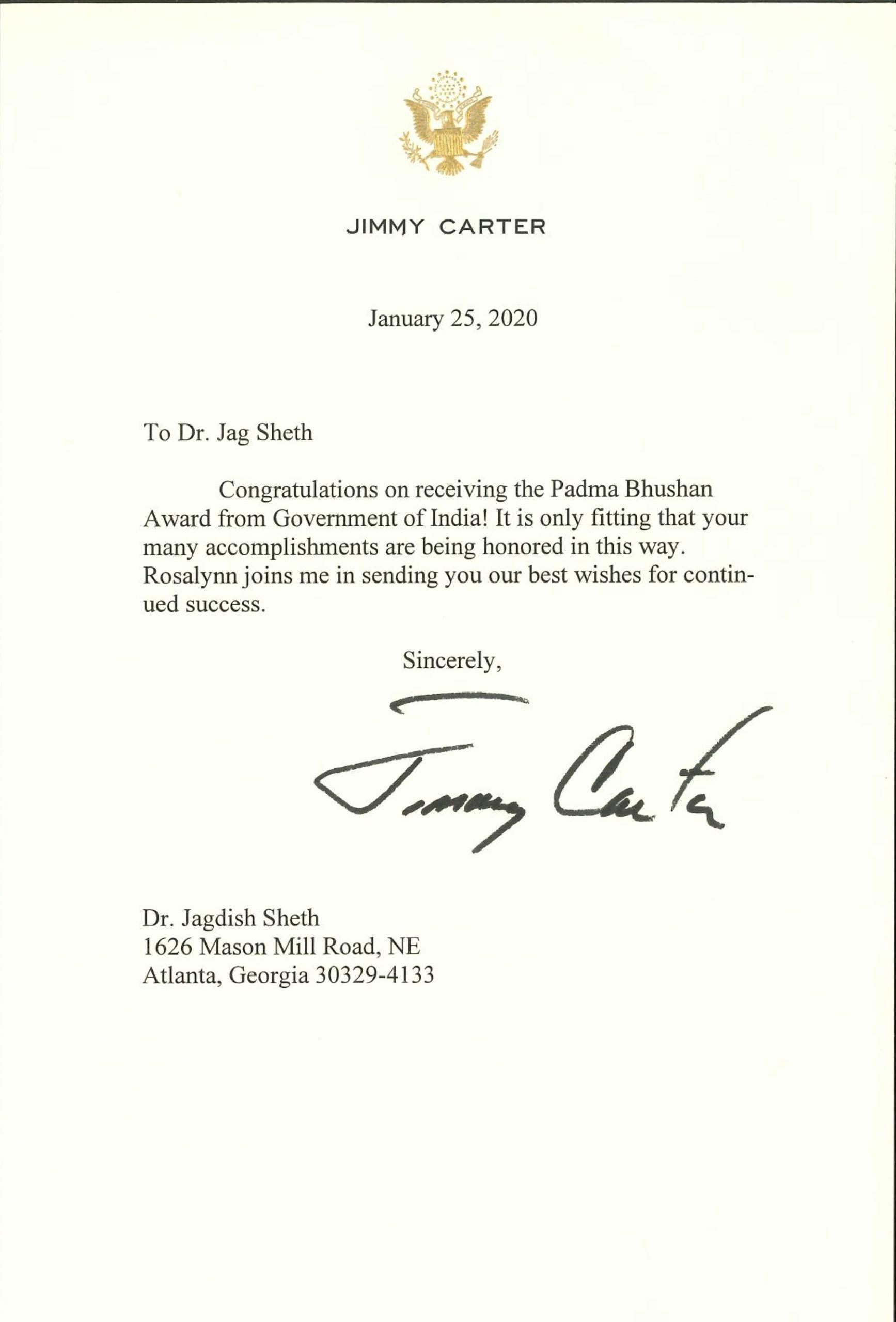 President Carter Congratulations Padma Bhushan Award